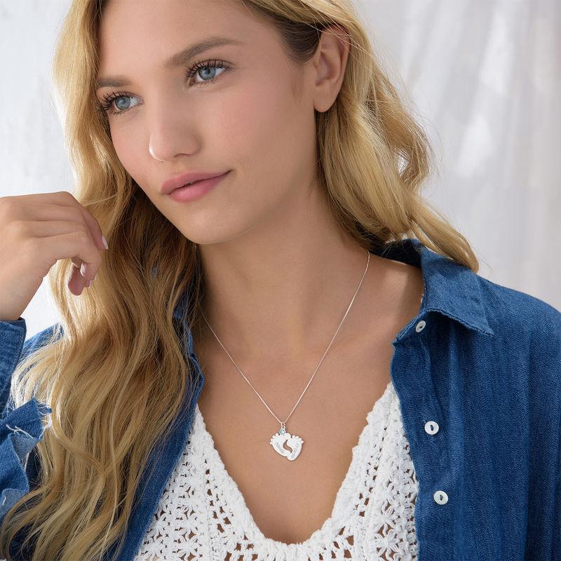 Personalisierte Babyfuß-Halskette für Mama - 2