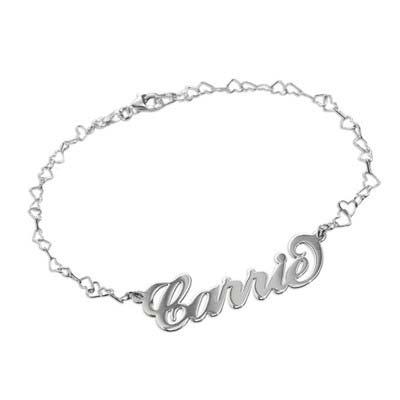 "925er Silber Namensarmband/ Fußband mit Herzkette im ""Carrie"" Style"
