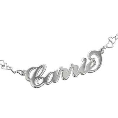 "925er Silber Namensarmband/ Fußband mit Herzkette im ""Carrie"" Style - 1"