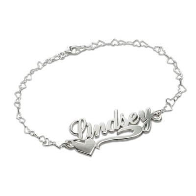925 Silber Namensarmband/ Fußband mit seitlichem Herzen