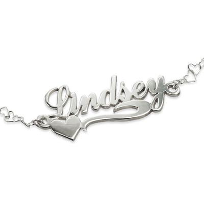 925 Silber Namensarmband/ Fußband mit seitlichem Herzen - 1