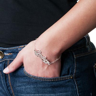 925 Silber Namensarmband/ Fußband mit seitlichem Herzen - 2