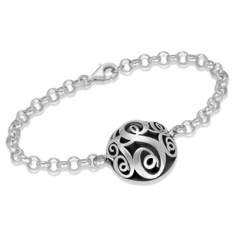 Konturiertes silbernes Monogramm-Armband