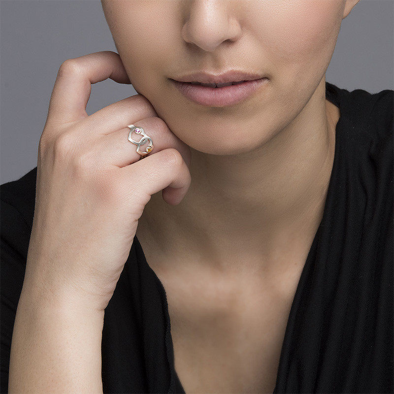 Mutterherz-Ring mit Geburtssteinen - 5