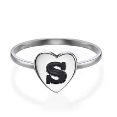 Herzinitialring aus Sterling Silber - 1
