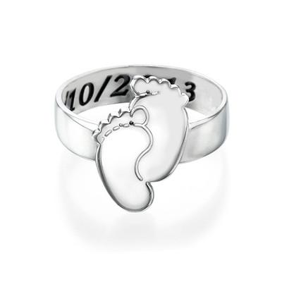 Gravierbarer Babyfüße-Ring - 1