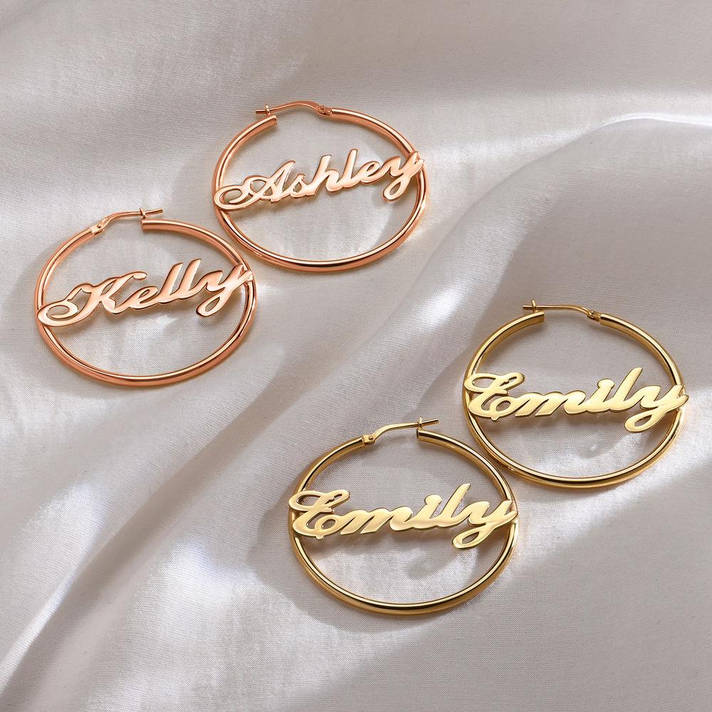 Ohrringe mit Namen aus Sterlingsilber mit 750er-Gold-Beschichtung - 1