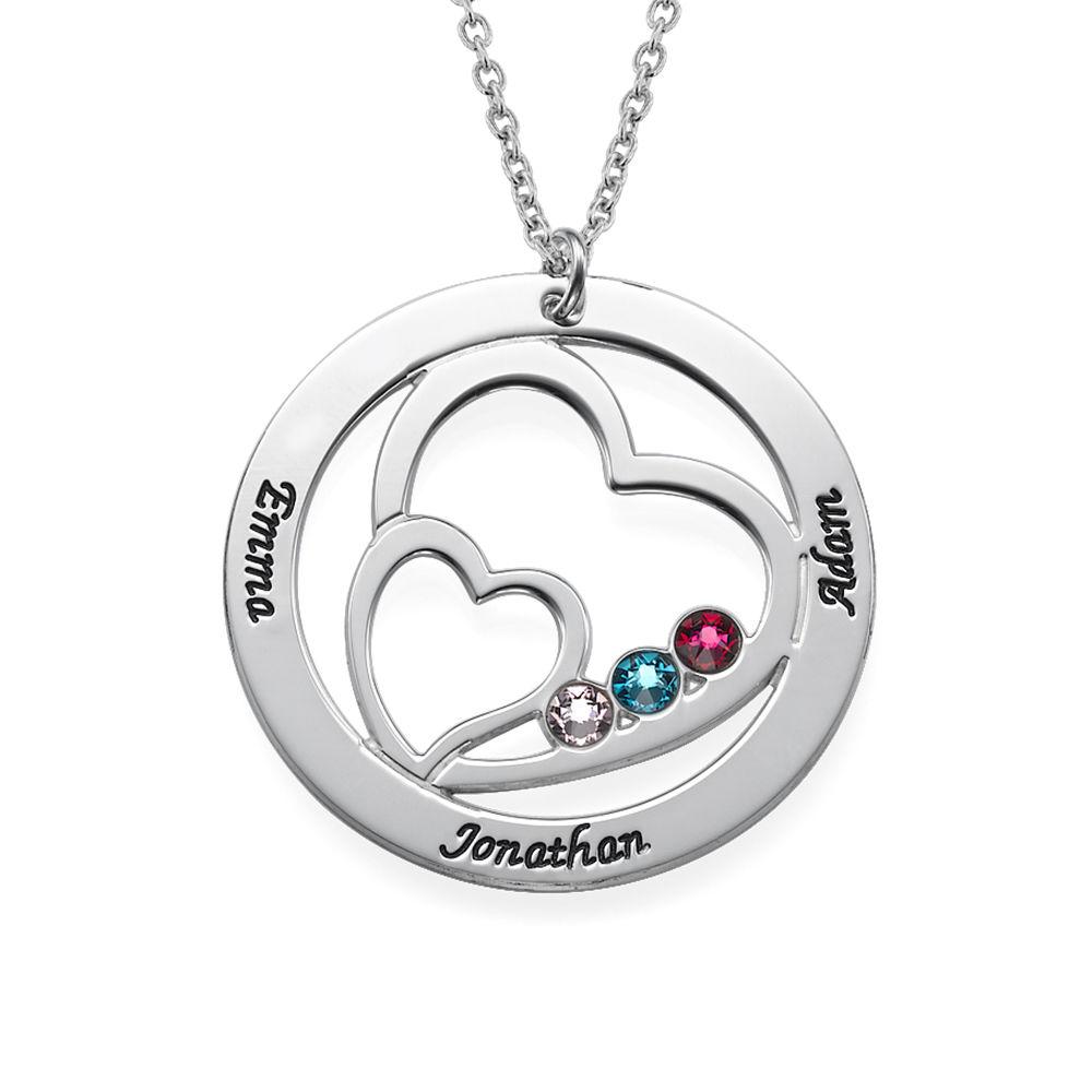 Herz in Herz-Halskette mit Gravur und Geburtssteinen - 1