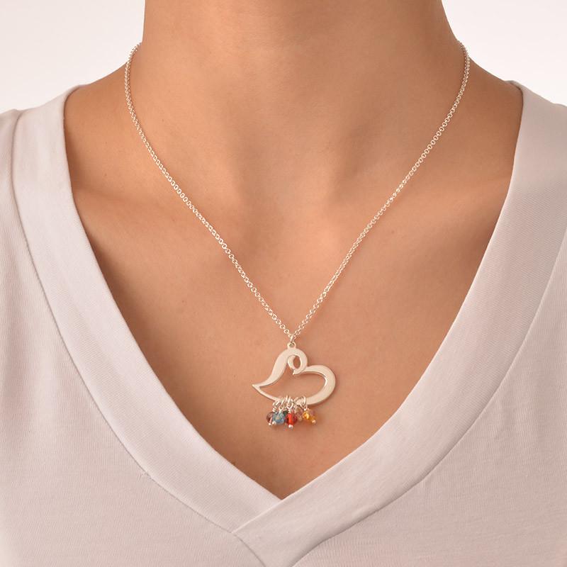 Silberne Herzkette mit schwebenden Geburtssteinen - 2