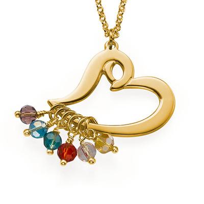 Vergoldete Herzkette mit hängenden Geburtssteinen
