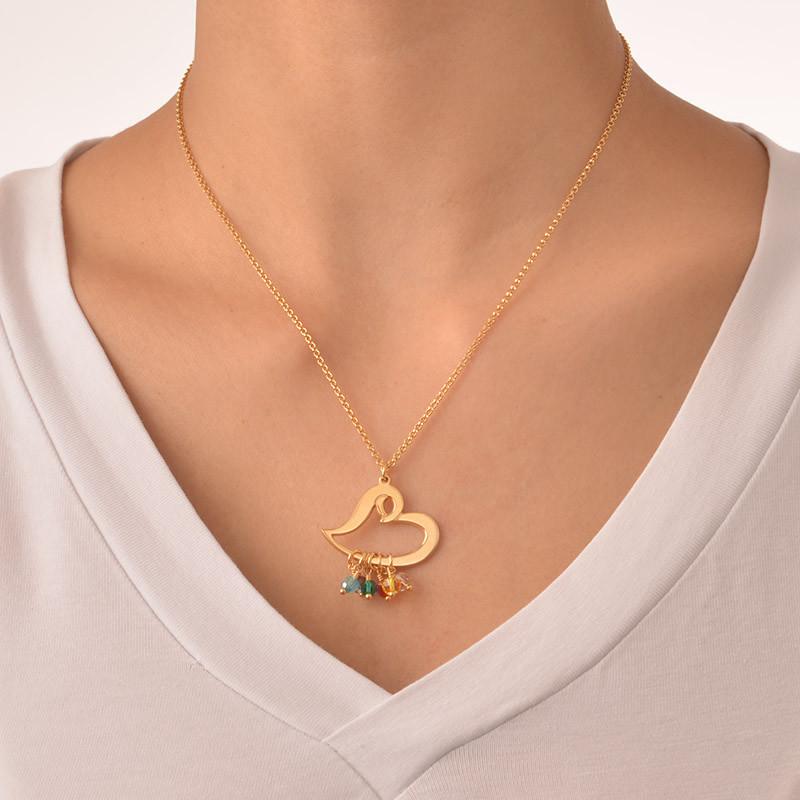 Vergoldete Herzkette mit hängenden Geburtssteinen - 2