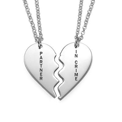 Gravierbare 2teilige Herzkette aus Sterling Silber