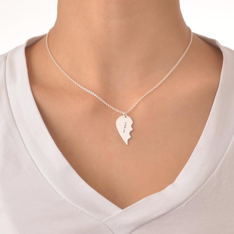 Gravierbare 2teilige Herzkette aus Sterling Silber - 2