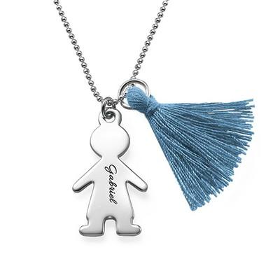 Quastenkette mit personalisiertem Kinderanhänger aus Silber
