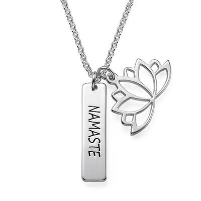 Lotusblütenkette mit personalisierbarem Barren aus Silber