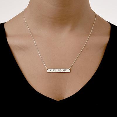 Barren Halskette mit römischen Zahlen - 1