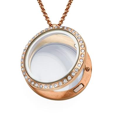 Rosévergoldetes Medaillon mit Kristallen - 1