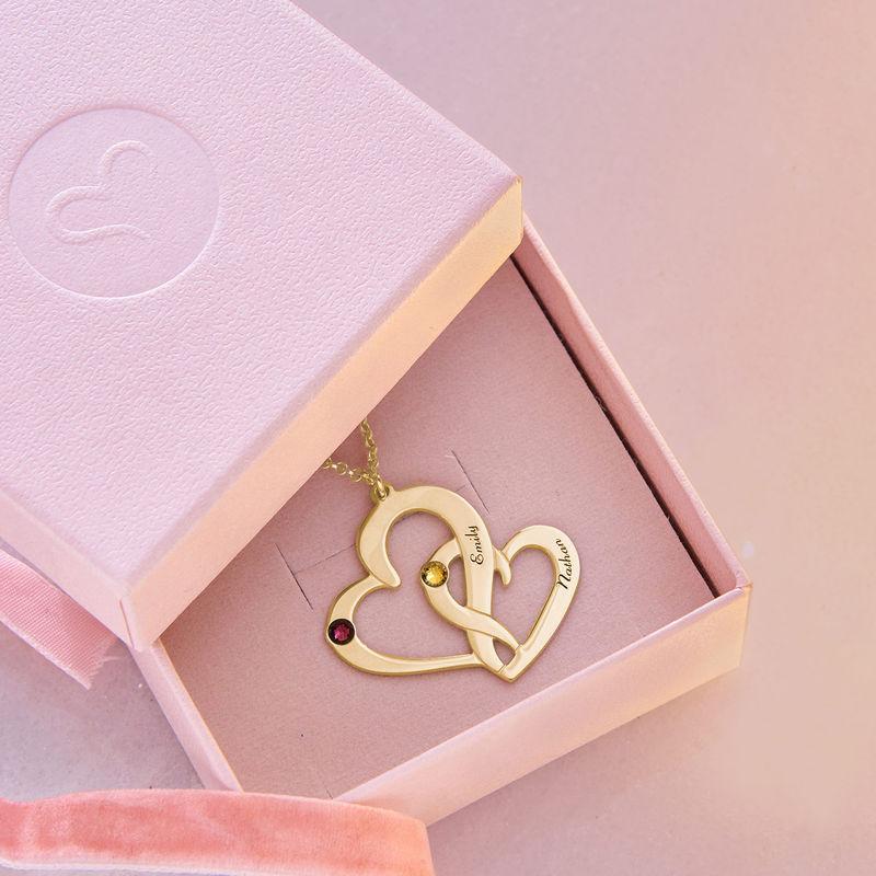 Vergoldete Zwei-Herzen-Kette mit Gravur - 4