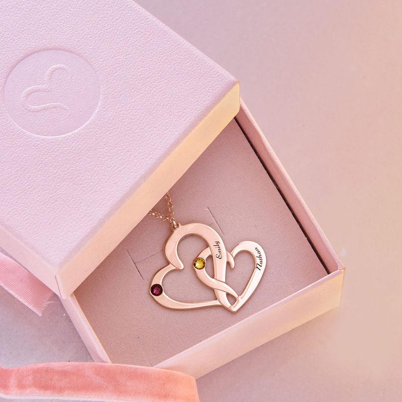 Rosévergoldete Zwei-Herzen-Kette mit Gravur - 5