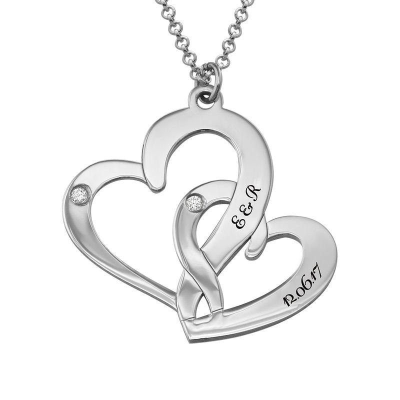 Diamantkette aus Sterlingsilber mit Gravur und zwei Herzen - 1