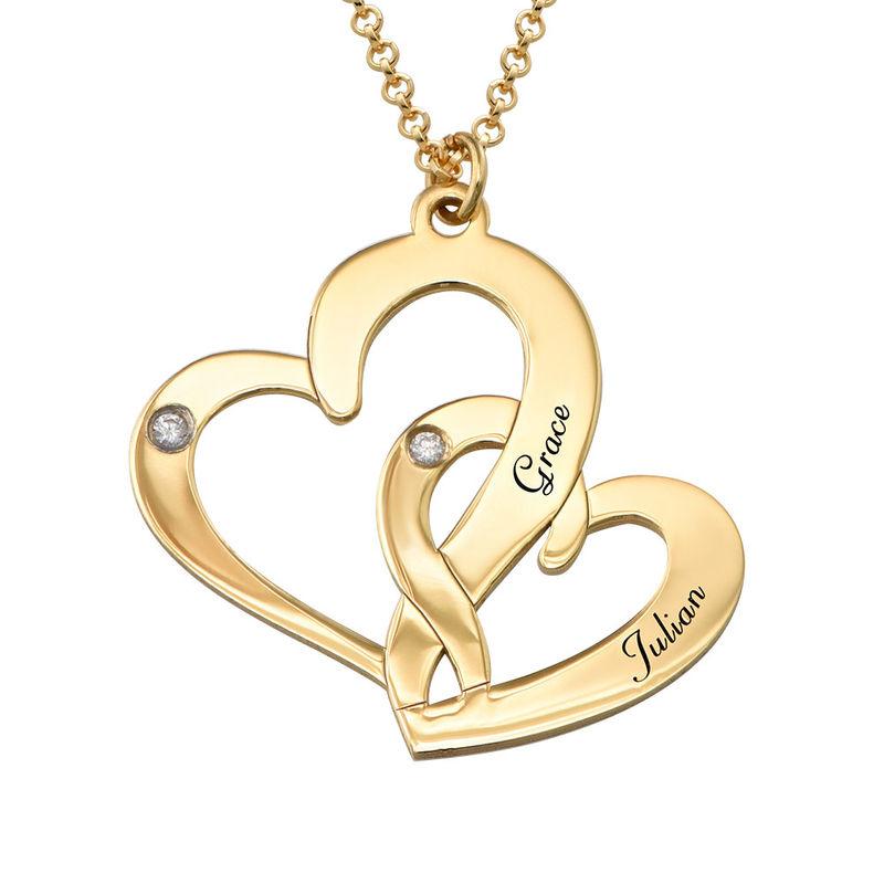 Vergoldete Diamantkette mit Gravur und zwei Herzen