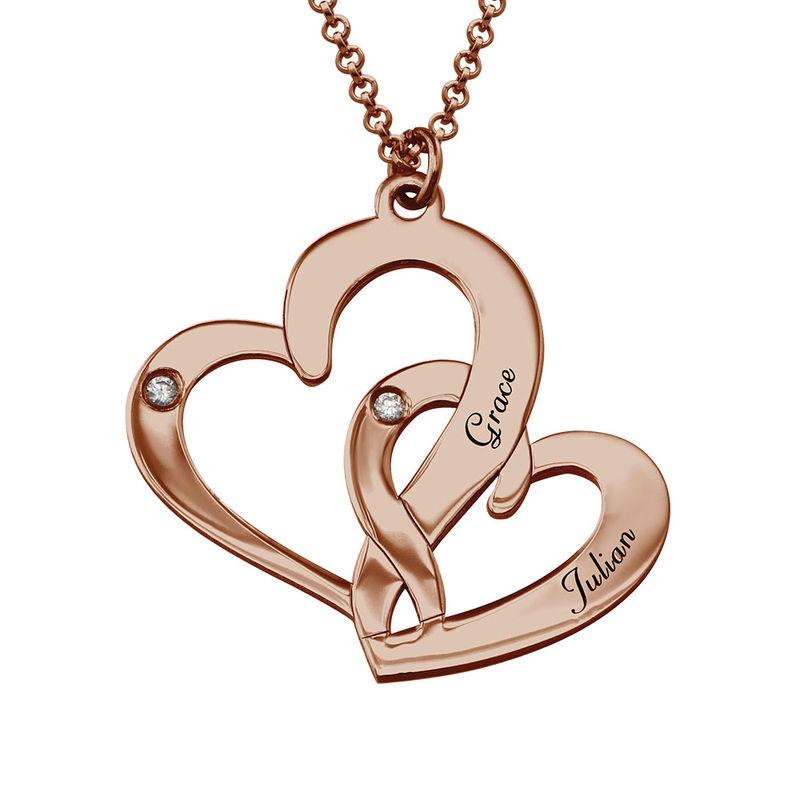 Rosévergoldete Diamantkette mit Gravur und zwei Herzen