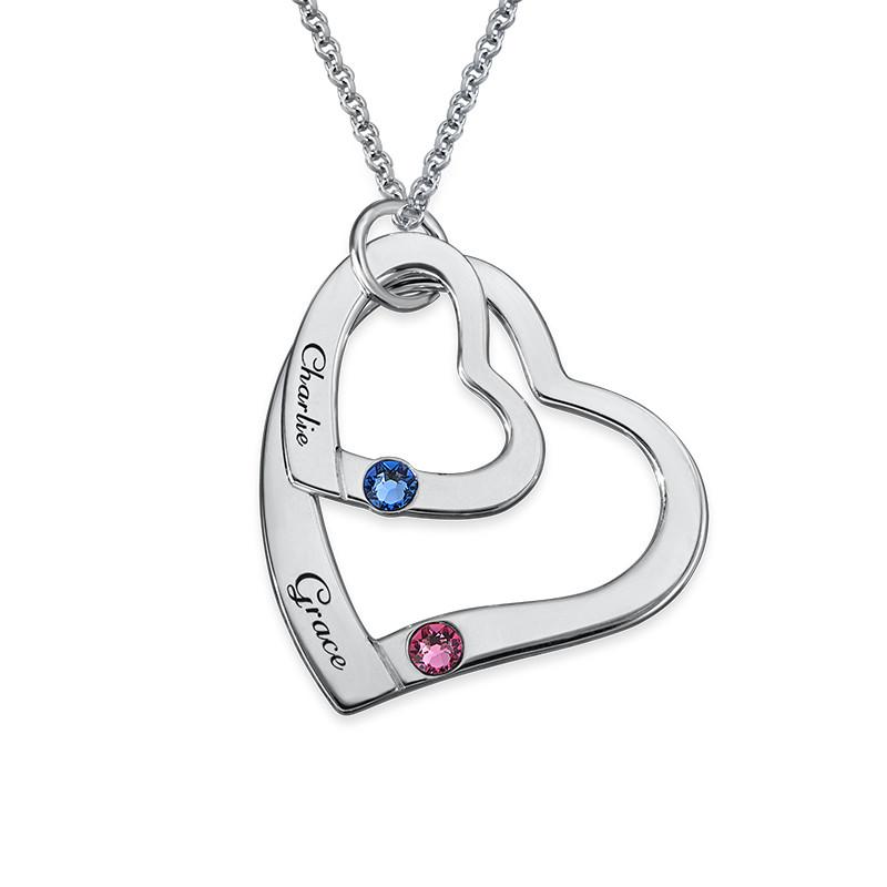 Lose Herz in Herz Halskette mit Geburtssteinen