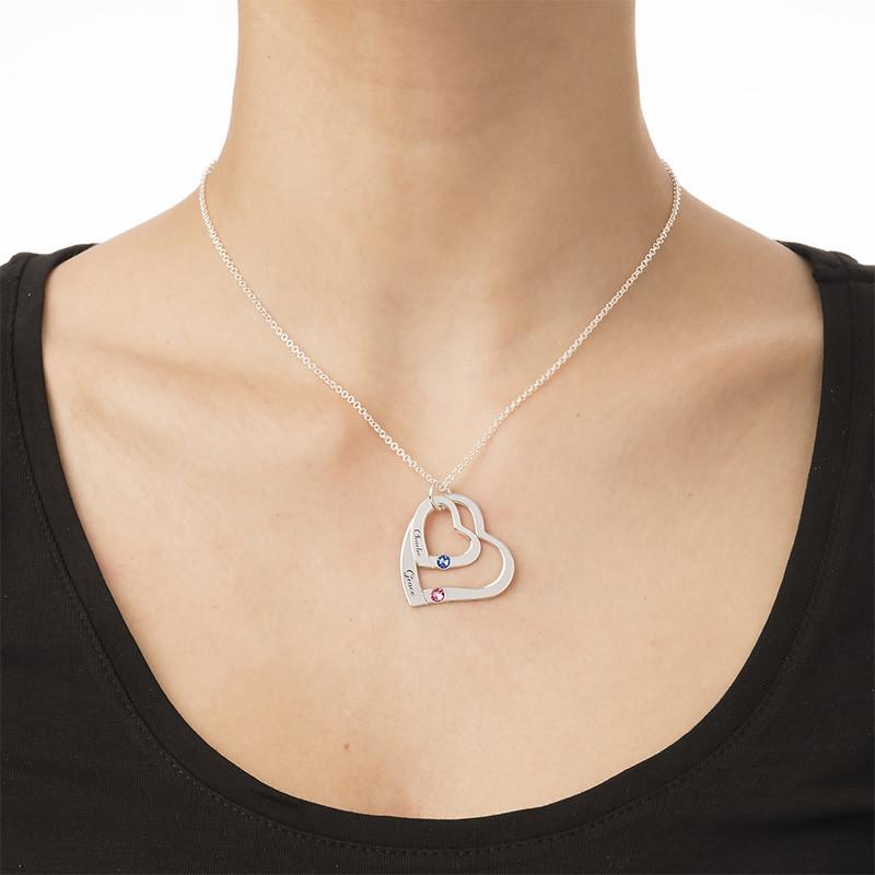 Lose Herz in Herz Halskette mit Geburtssteinen - 3