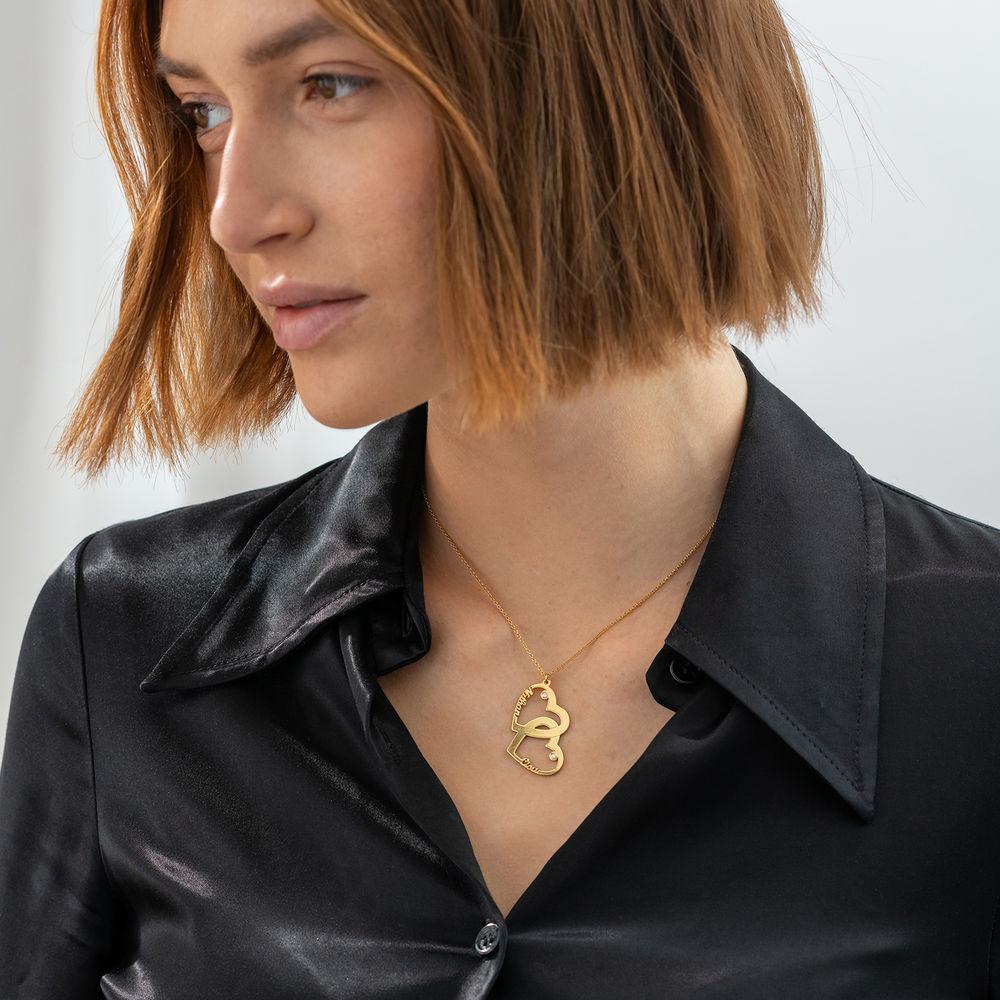 Herz in Herz Halskette aus 750er vergoldetes 925er Silber mit Diamant - Meine ewige Liebe Kollektion - 1