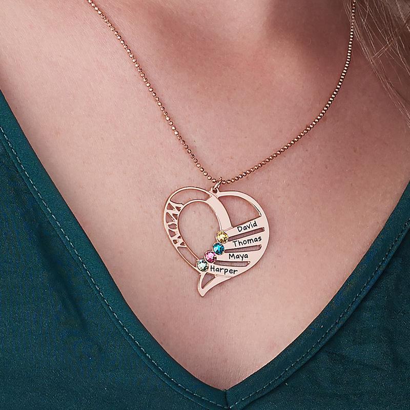Mutterkette mit Geburtsstein und Gravur - rosévergoldet - 6