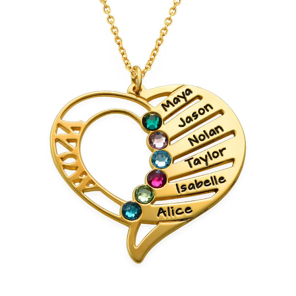 Gravierte Halskette mit Mutter-Geburtsstein aus Gold-Vermeil