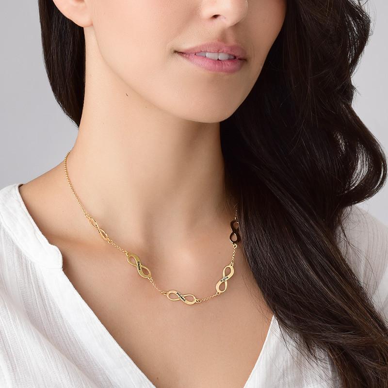 Mehrfach-Infinity-Halskette - 18k vergoldet - 3