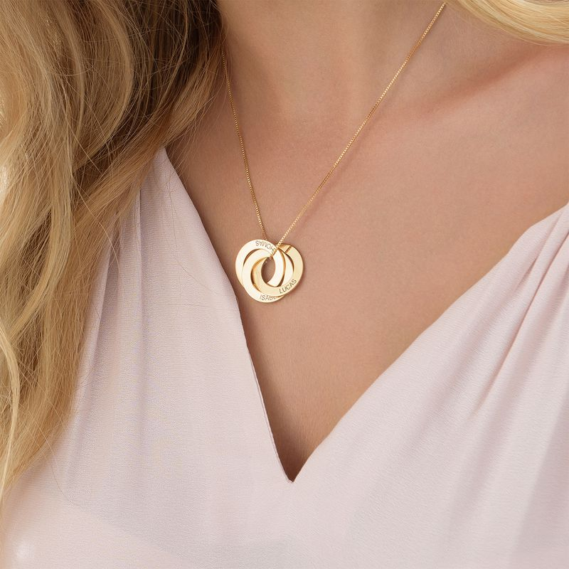 Russische Halskette mit Gravur - vergoldet - 4