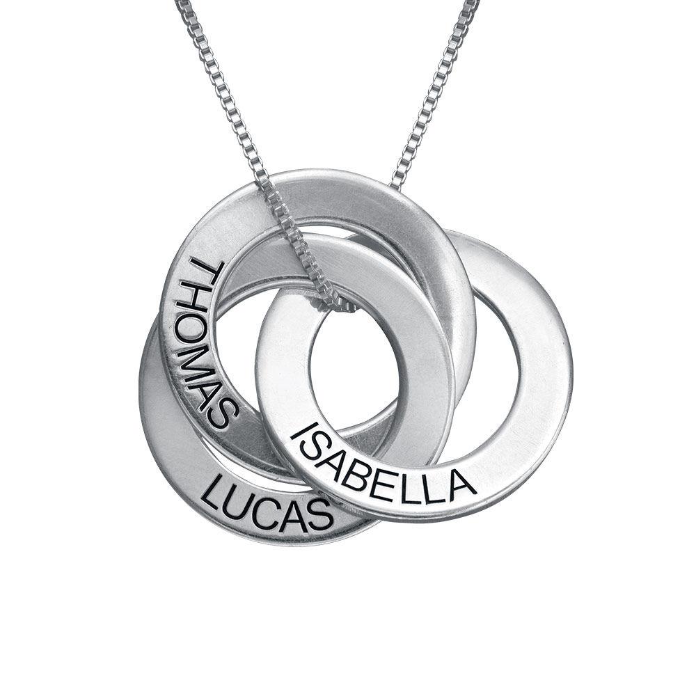 Russische Ring Halskette mit Gravur aus 940 Premium Silber