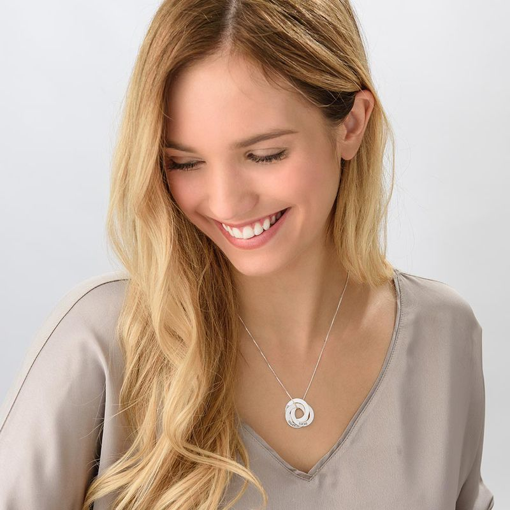 Russische Ring Halskette mit Gravur aus 940 Premium Silber - 3