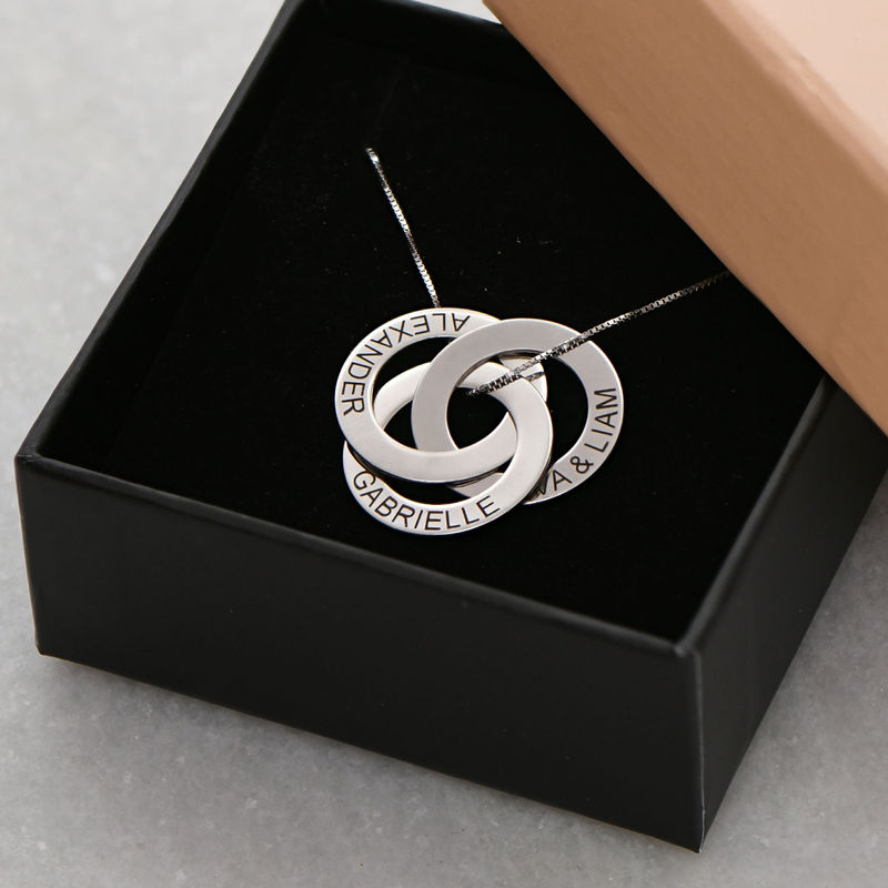 Russische Ring Halskette mit Gravur aus 940 Premium Silber - 5