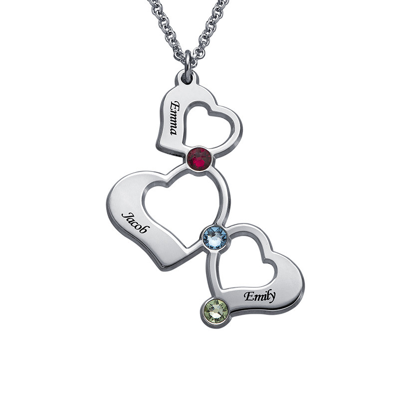 3-Herzen-Halskette für Mutter mit Gravur und Geburtssteinen