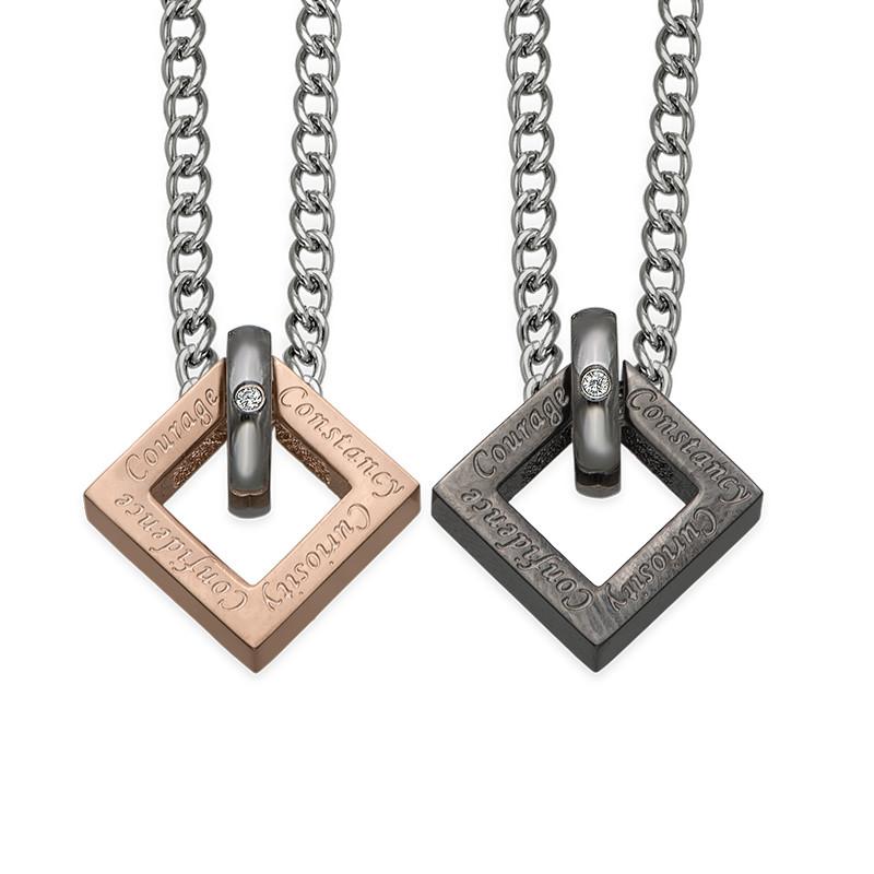 Quadratische Sie und Er Halskette