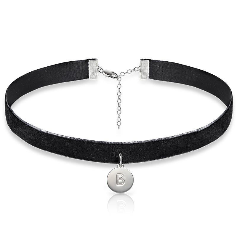 Samt Halsband-Kette mit Initialen Charm