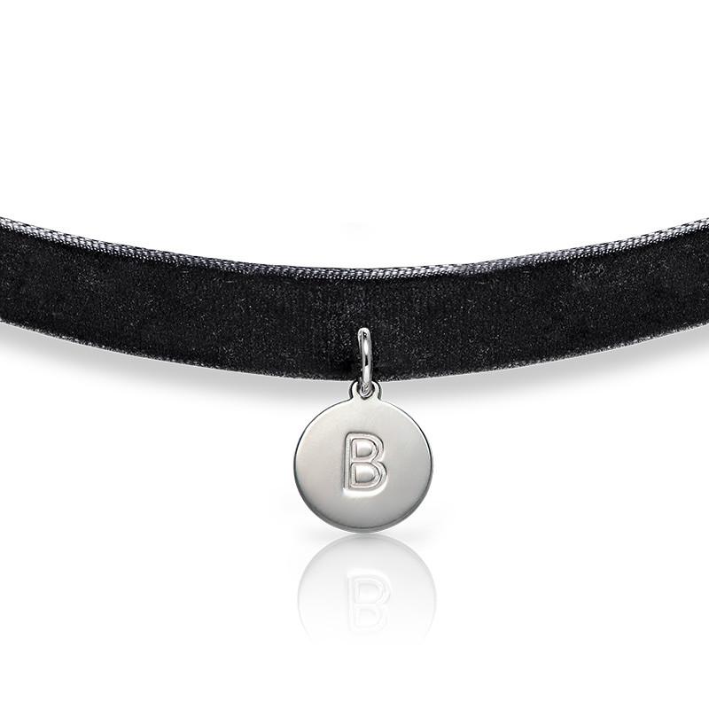 Samt Halsband-Kette mit Initialen Charm - 1