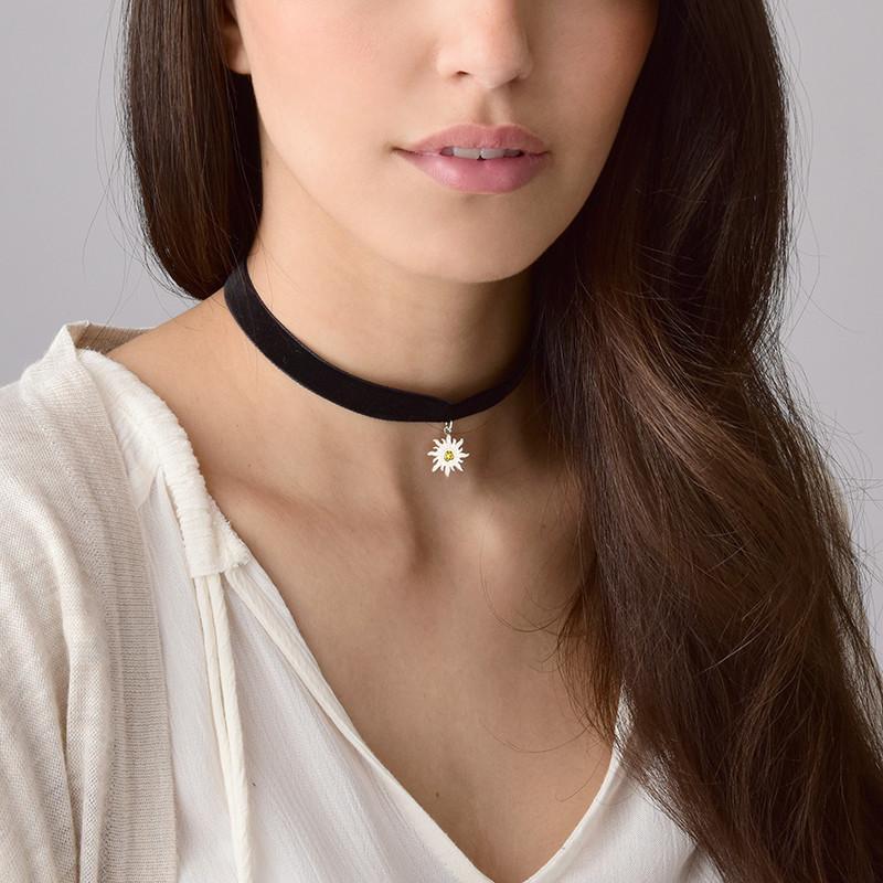 Schwarze Halsband-Kette mit Geburtsstein Sonnen Charm - 3