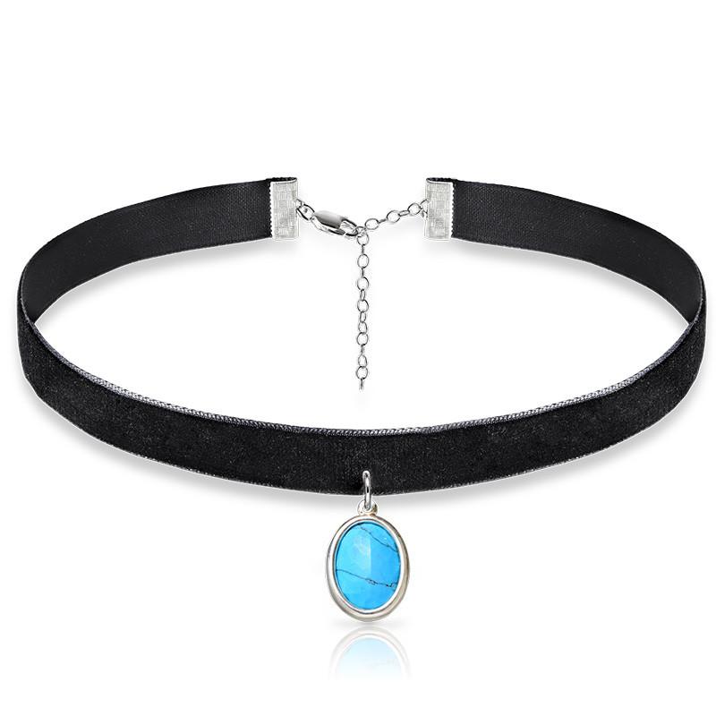 Schwarze Samt Halsband-Kette mit persönlichen Stein