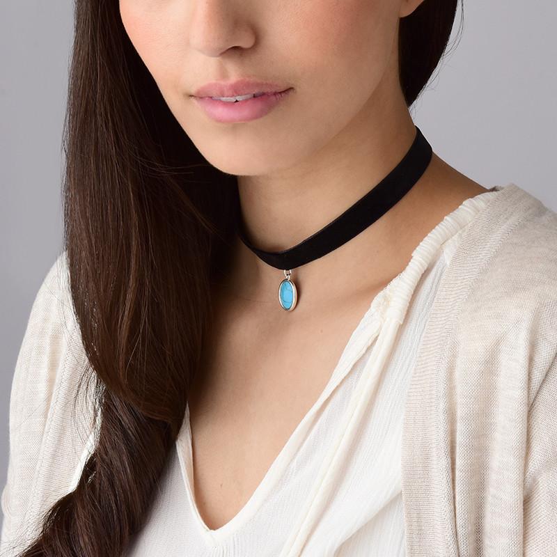 Schwarze Samt Halsband-Kette mit persönlichen Stein - 3