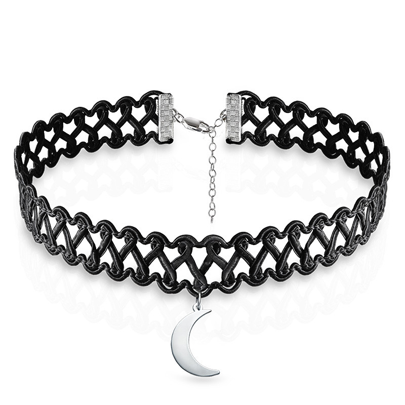 Tattoo Halsband-Kette mit Mond Charm