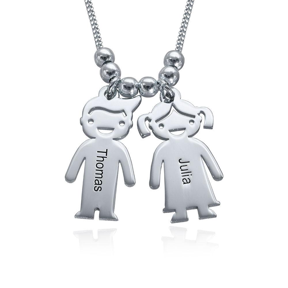 925er Sterling Silber Kette mit Kinderanhängern und Wunschgravur fur Mama