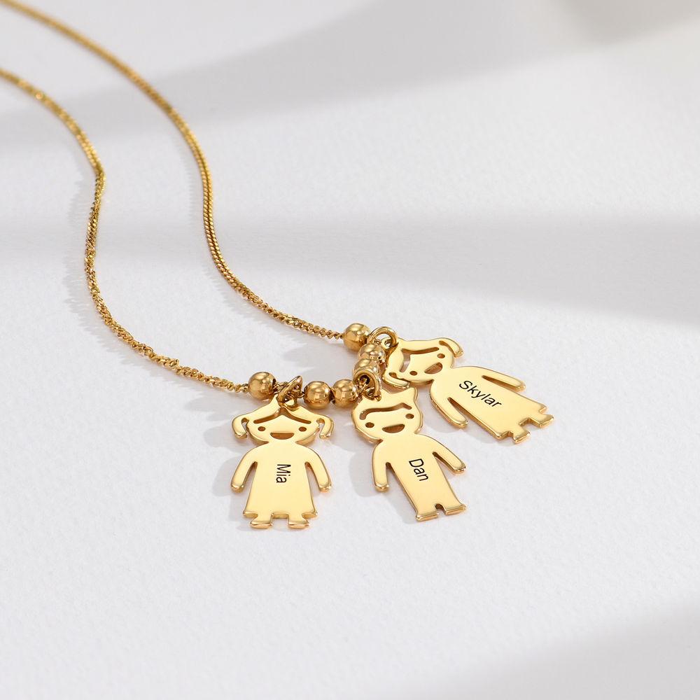 750er vergoldete Silber Kette für Mama mit Kinder Anhängern und Wunschgravur - 1