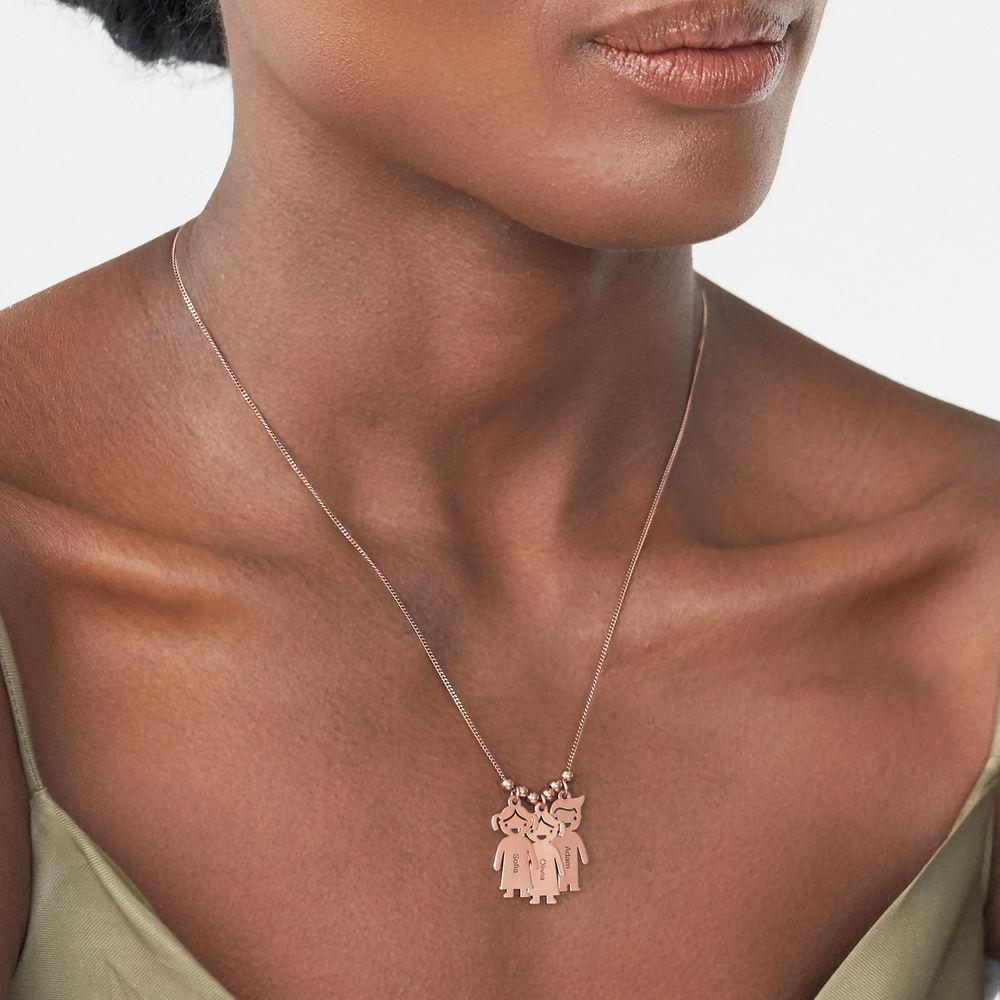 Halskette mit gravierbaren Kinder Charms aus Rosé vergoldetem Silber - 2