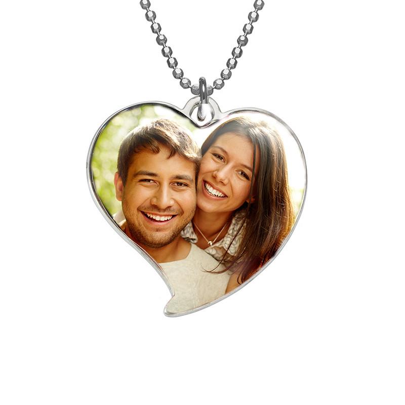 Herzförmige Foto Halskette aus Sterling Silber