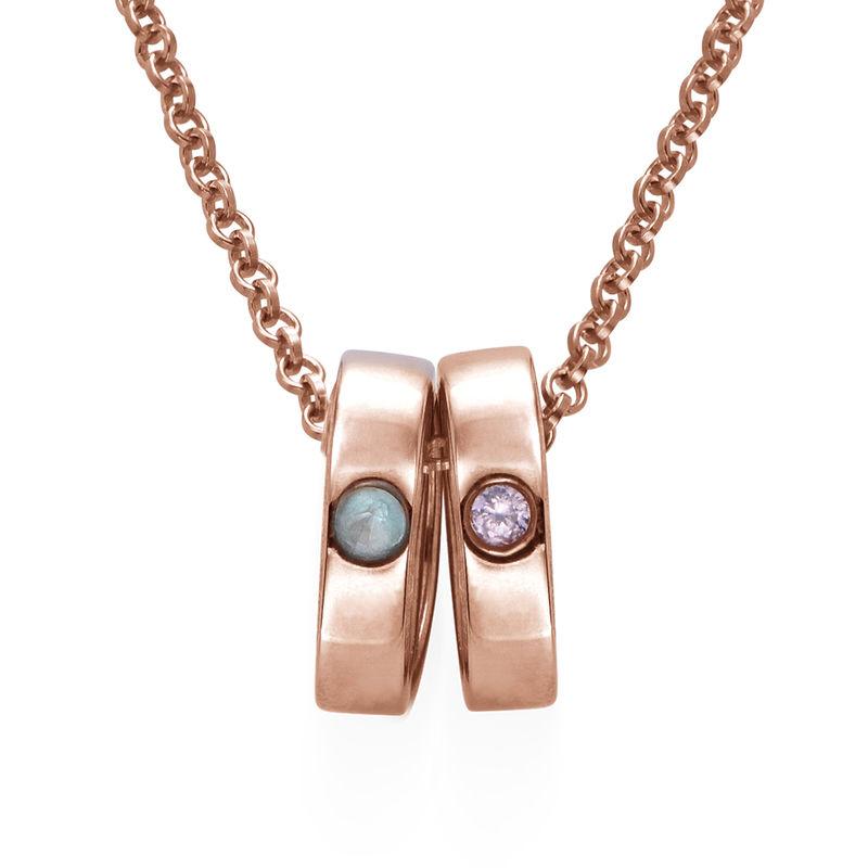 Roségold-beschichtete Mutterkette mit Ring mit Gravur