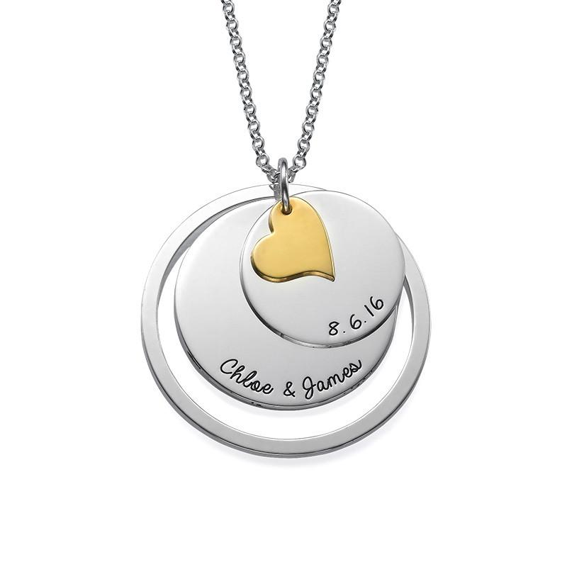 Liebes-Disk-Kette mit Gravur in Silber - 1